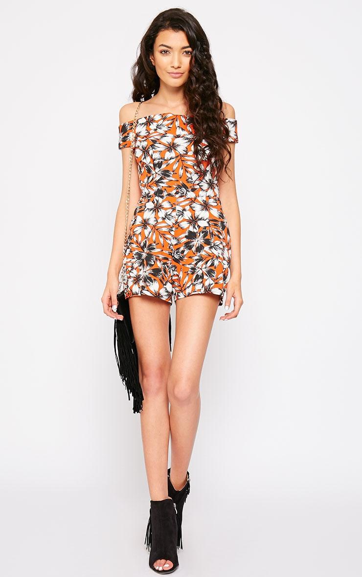 Senta Orange Floral Bardot Playsuit 3