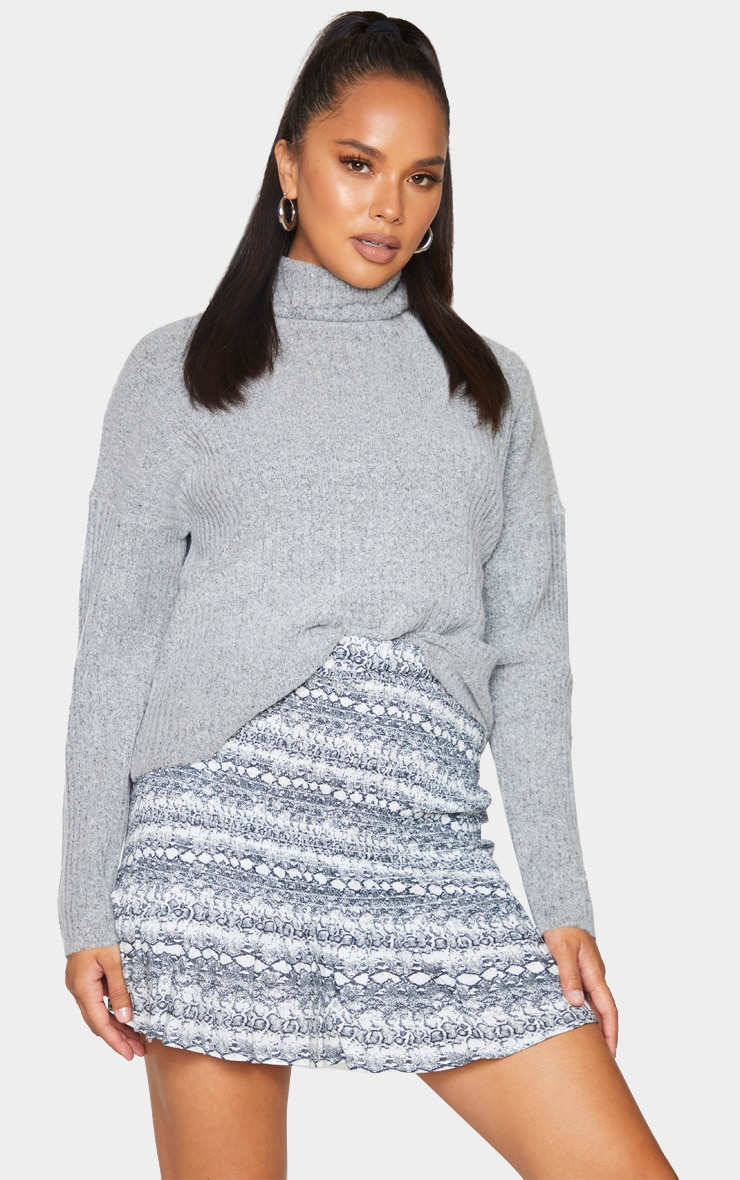 Grey Snake Woven Shirred Frill Hem Mini Skirt 4