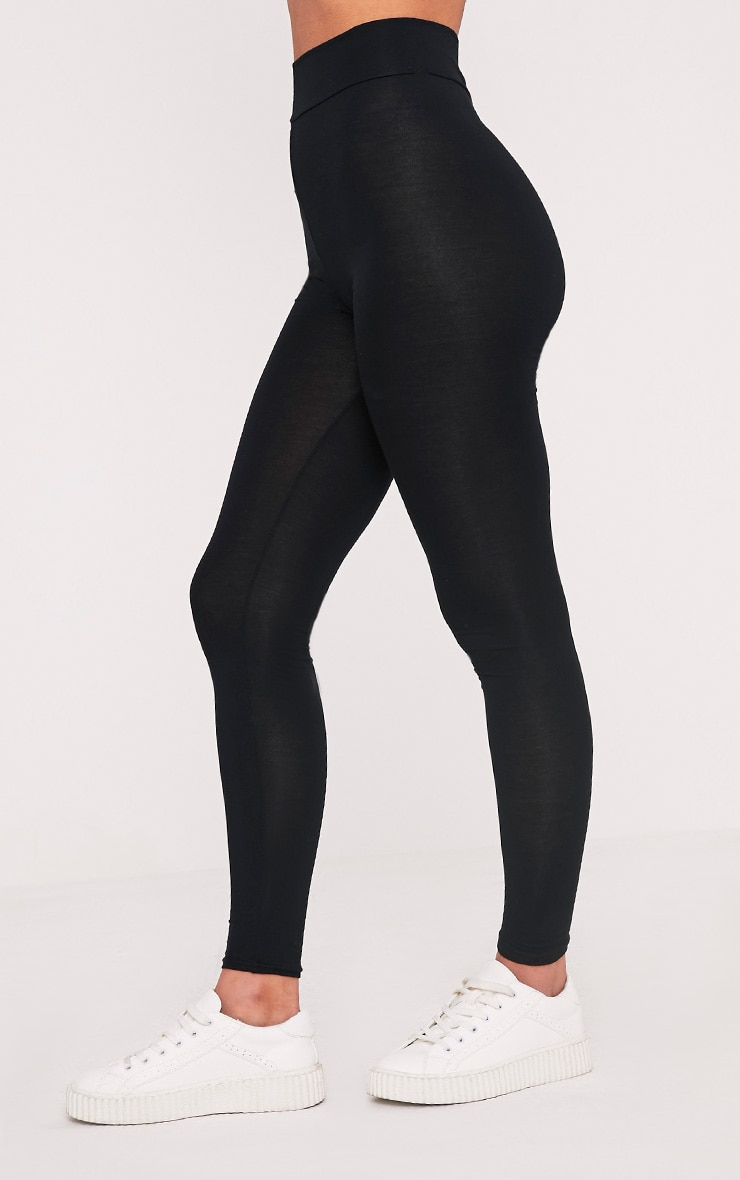 Dabria Black High Waisted Jersey Leggings 3