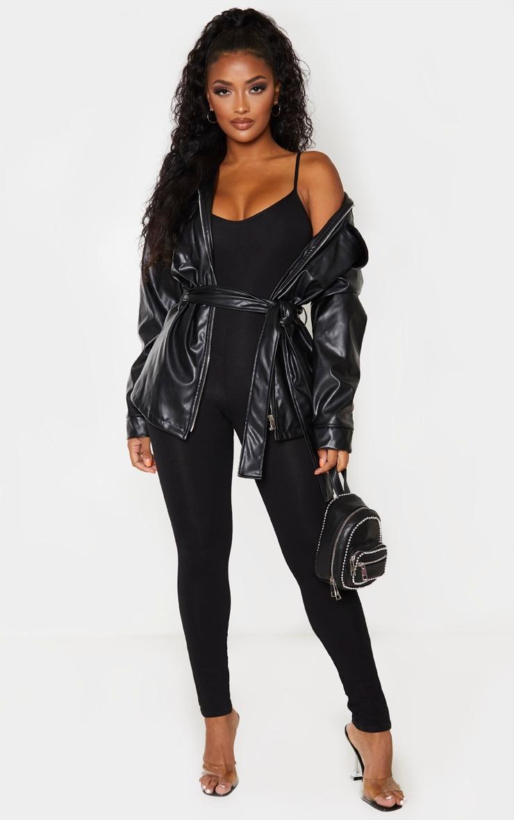 Shape Black Cotton Strappy Jumpsuit 1