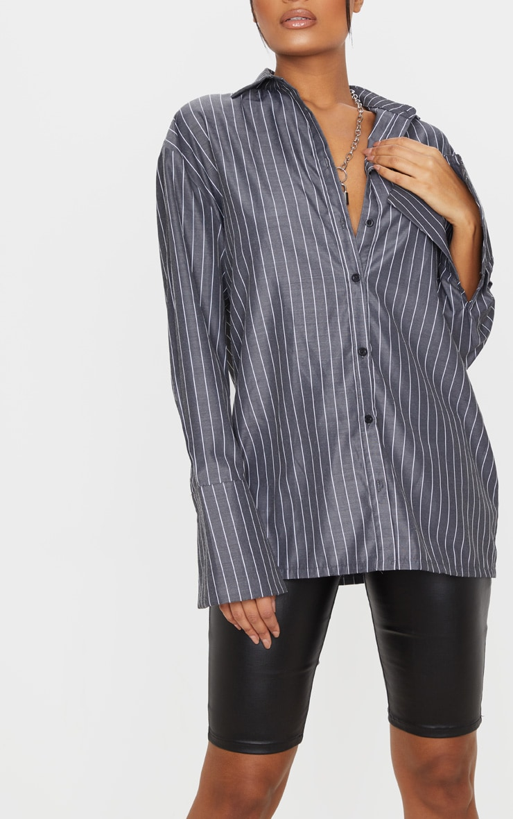 Black Pinstripe Oversized Dad Shirt 5