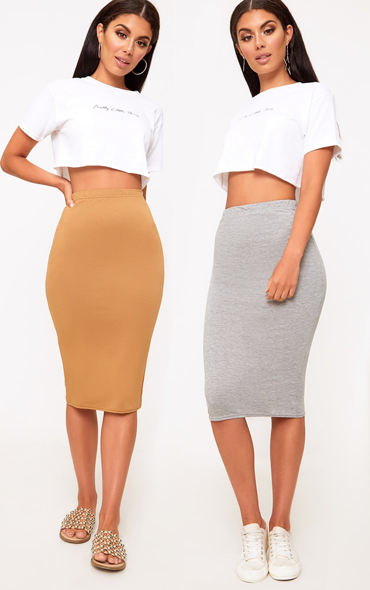 Basic Grey & Camel Jersey Midi Skirt 2 Pack 1