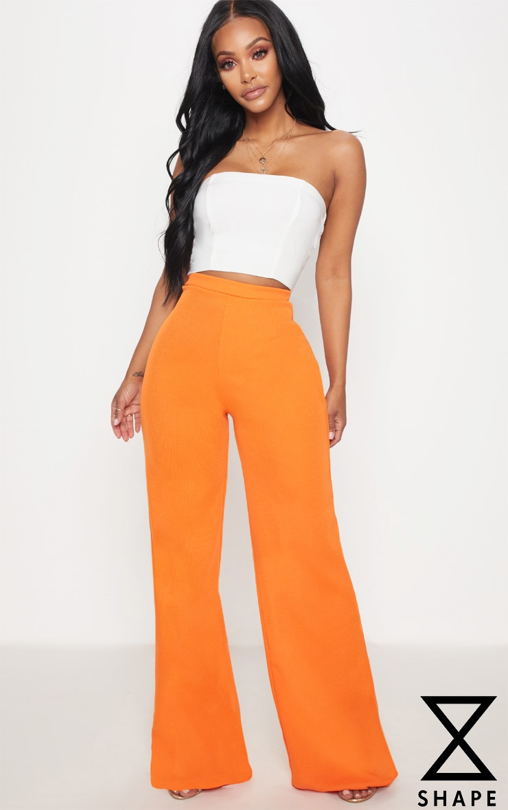 Shape Orange Ribbed Bandage Wide Leg Trousers
