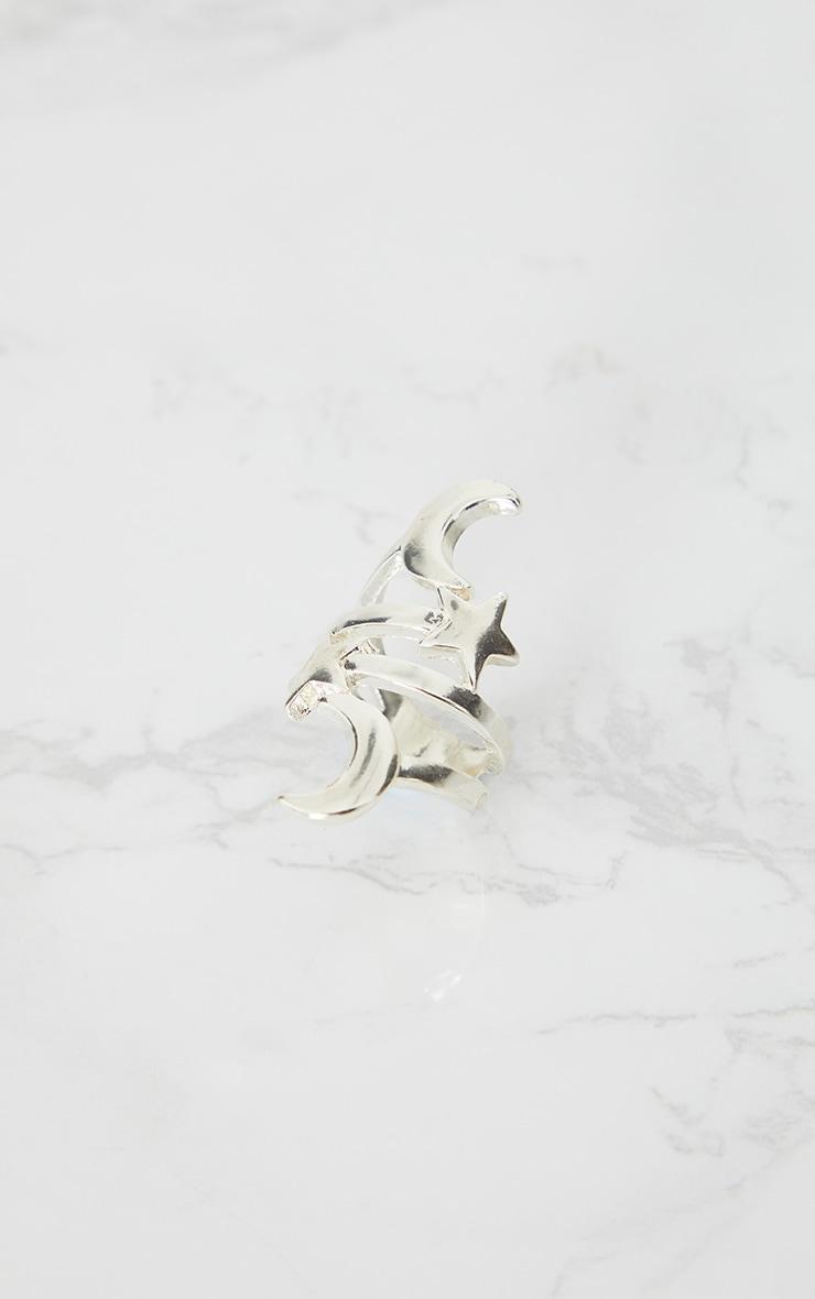 Silver Star Moon Ring 3
