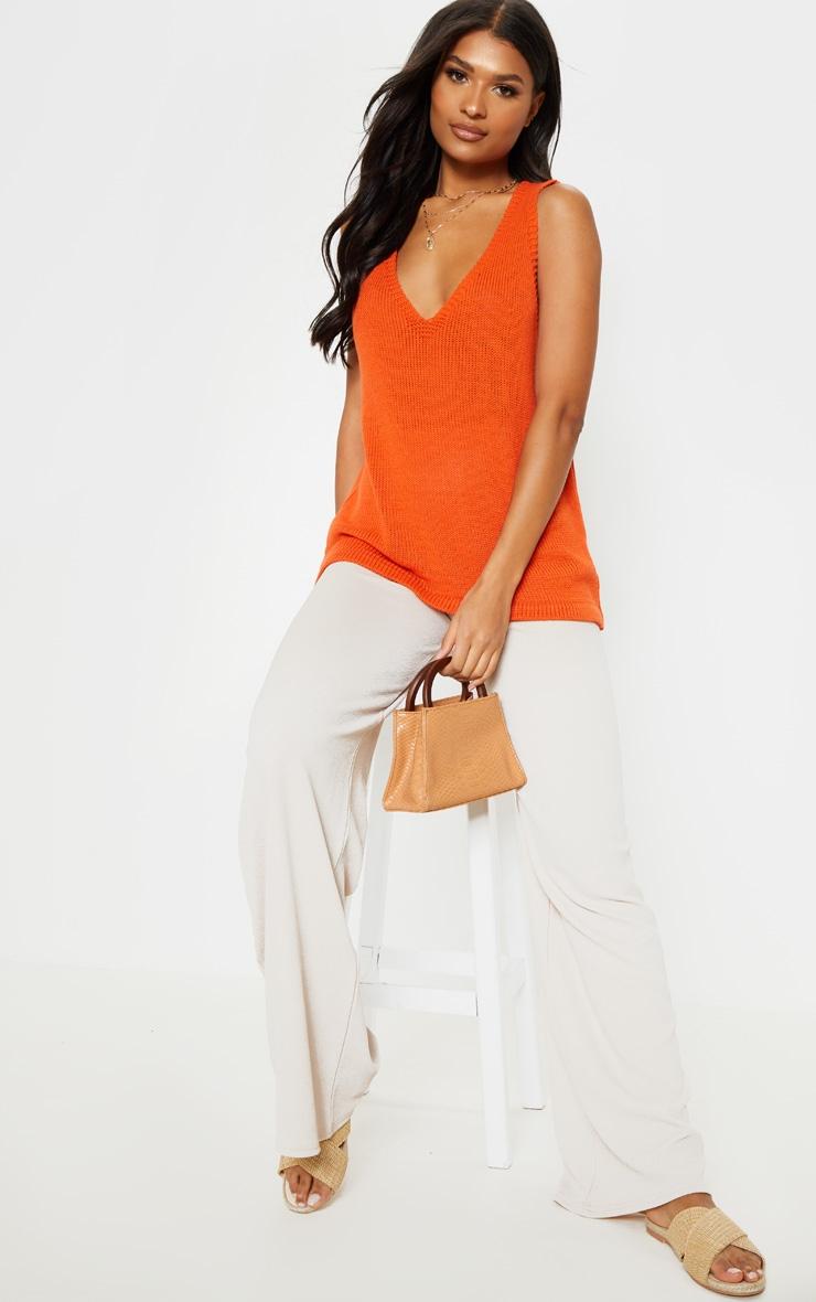 Orange V Neck Sleeveless Knit  by Prettylittlething