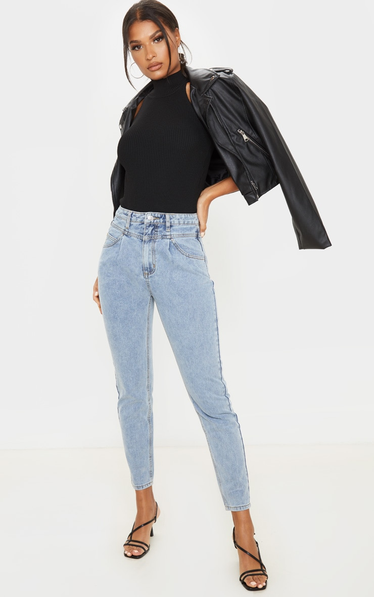 Vintage Wash Seam Front Straight Leg Jeans 1