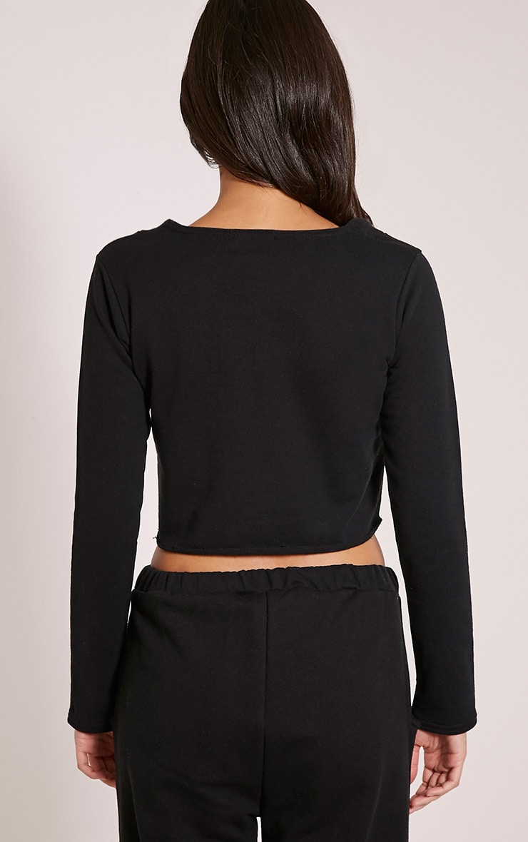 Theah Black Lace Up Crop Sweater 2