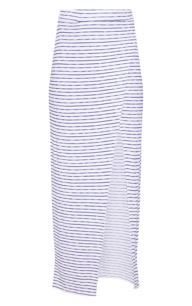 Blue Split Front Stripe Maxi Skirt 3