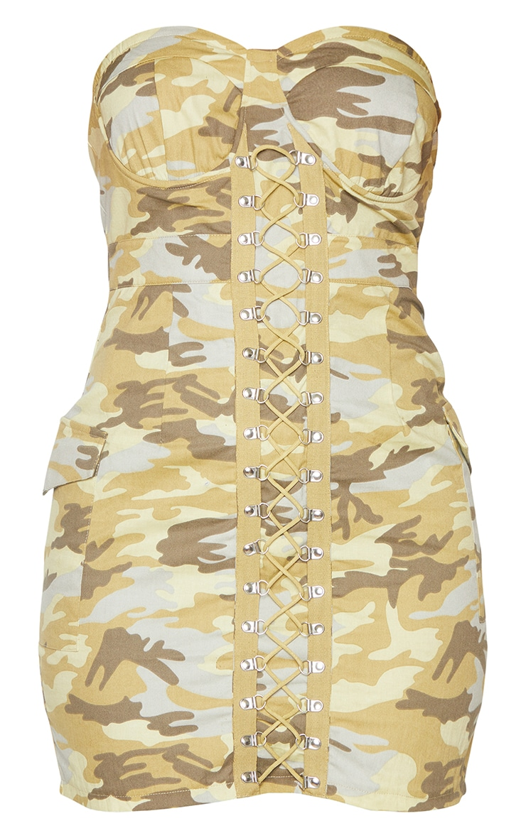 Green Camo Lace Up Detail Underwired Bandeau Bodycon Dress 5