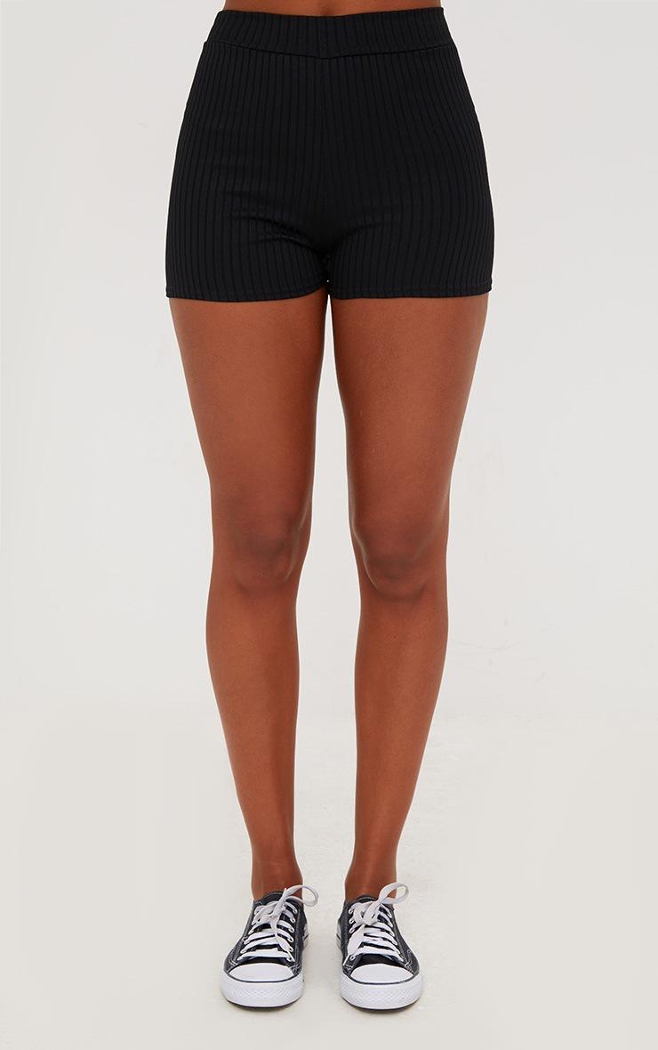 Janice Black Ribbed Shorts 2