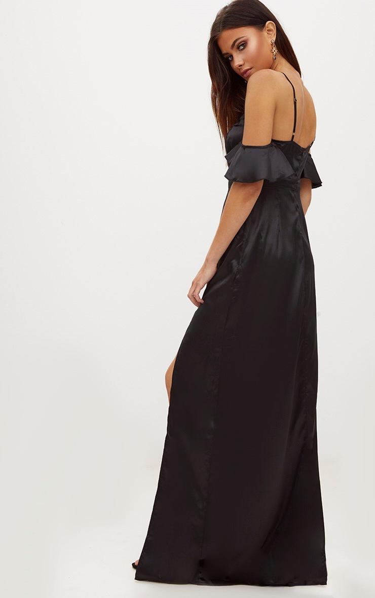 Black Frill Sleeve Split Detail Satin Maxi Dress 2