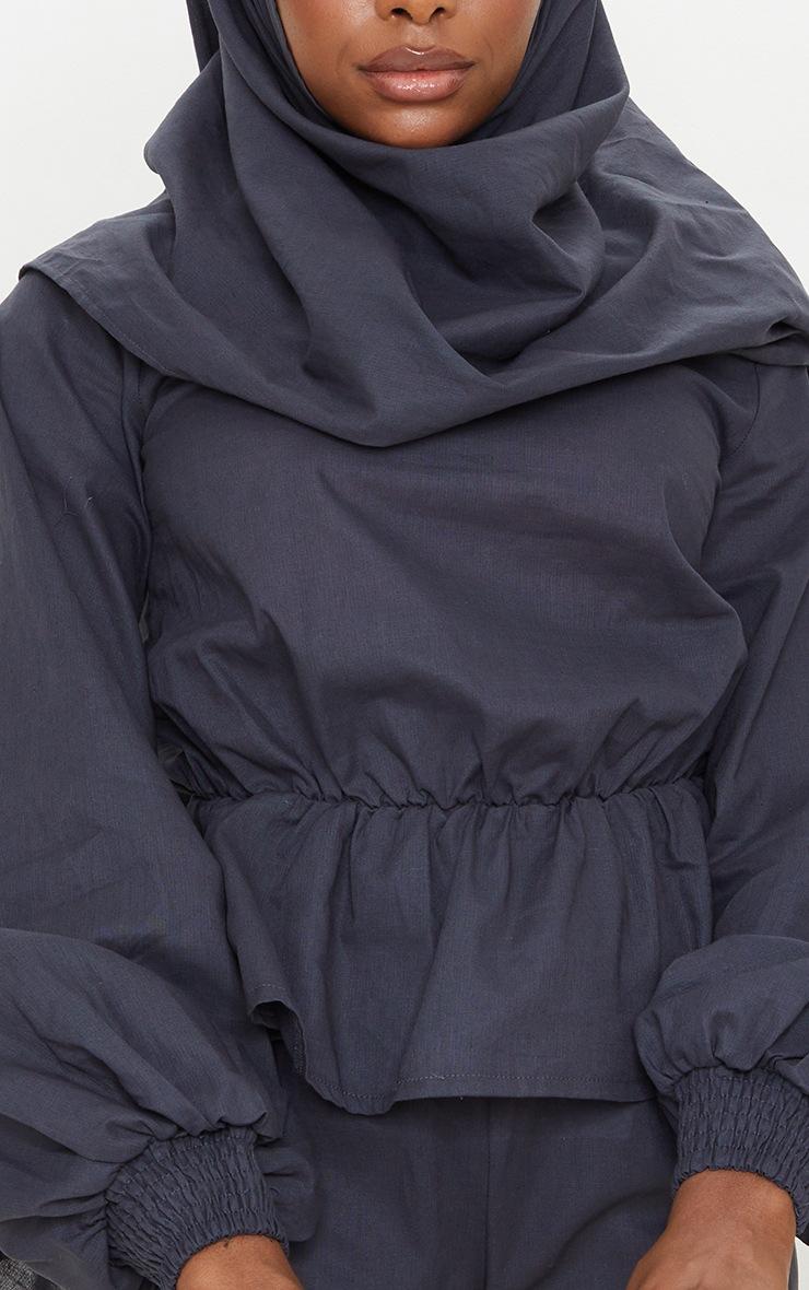 Navy Woven Peplum Wrap Hijab Blouse 4