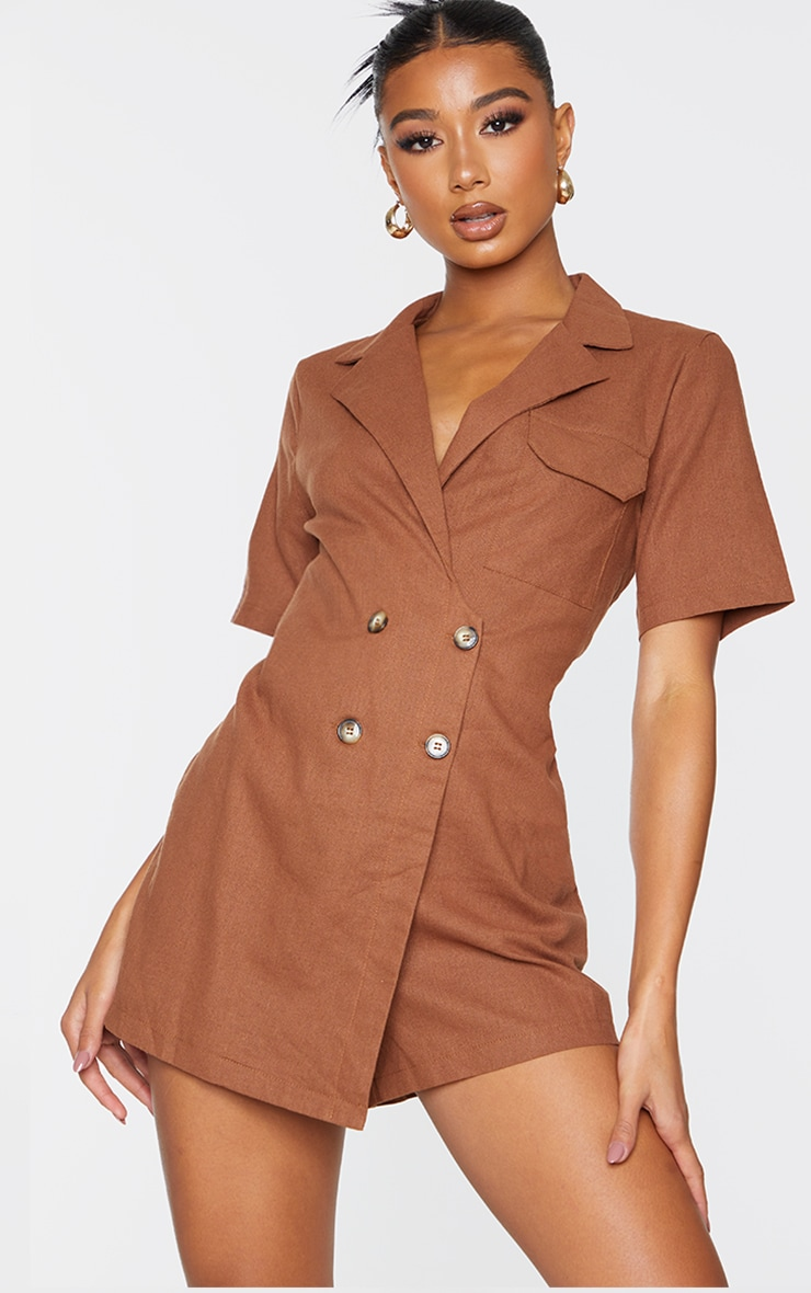 Chocolate Linen Look Boxy Playsuit 1