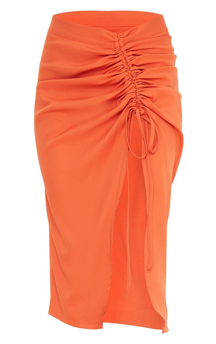 Burnt Orange Woven Ruched Detail Midi Skirt 5