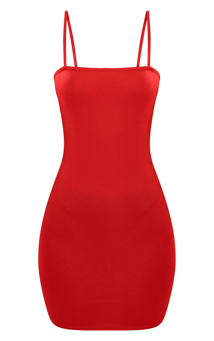 Red Crepe Strappy Straight Neck Bodycon Dress 4