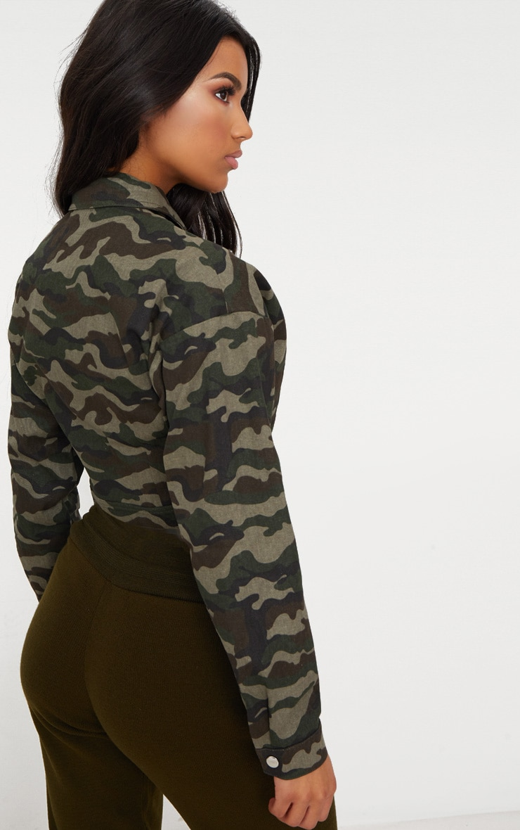 Green Cropped Camo Trucker Jacket 2