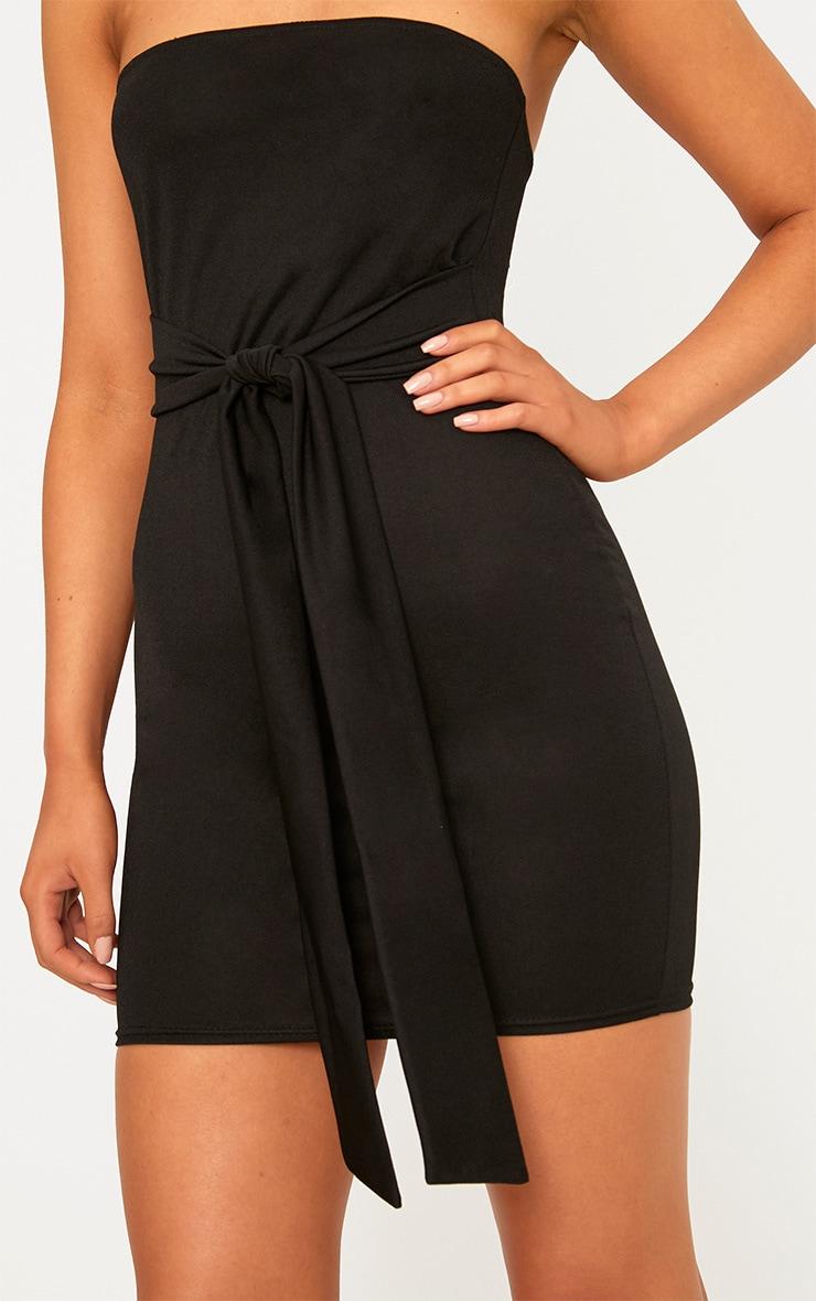 Black Bandaeu Tie Front Bodycon Dress 5