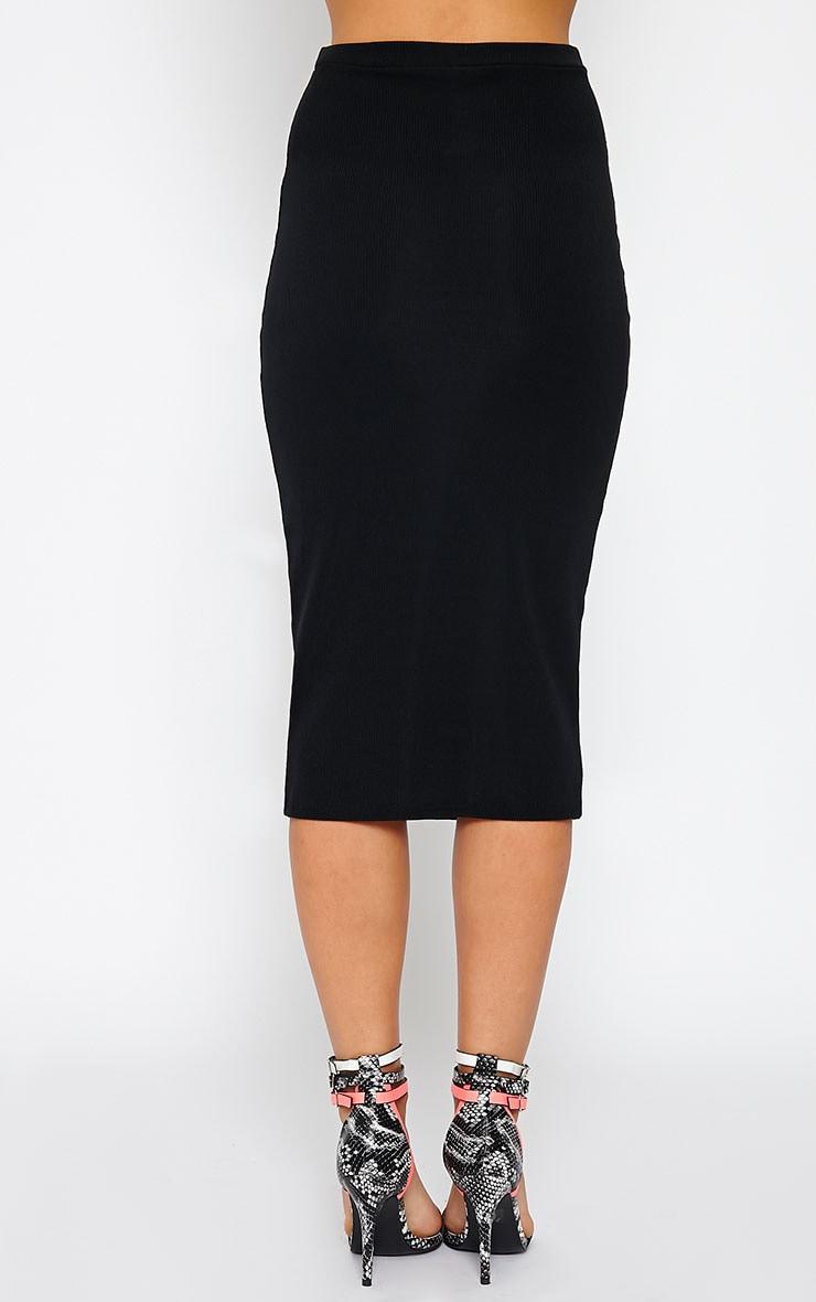 Basic Black Ribbed Midi Skirt 3