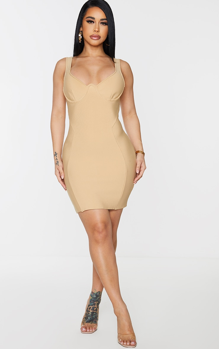 Shape Champagne Bandage Cup Detail Panelled Bodycon Dress 3