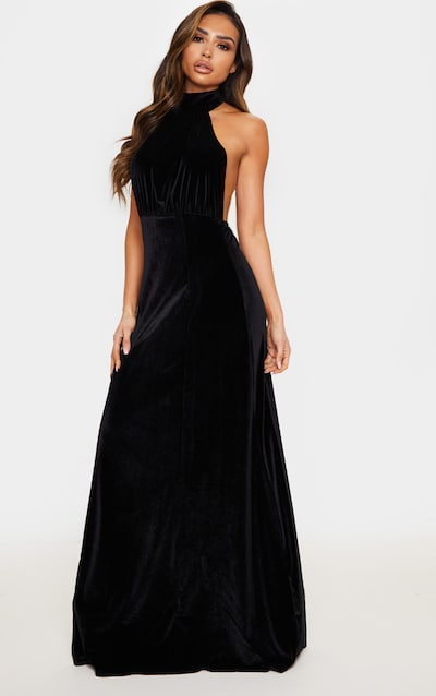 Black High Neck Halterneck Velvet Maxi Dress