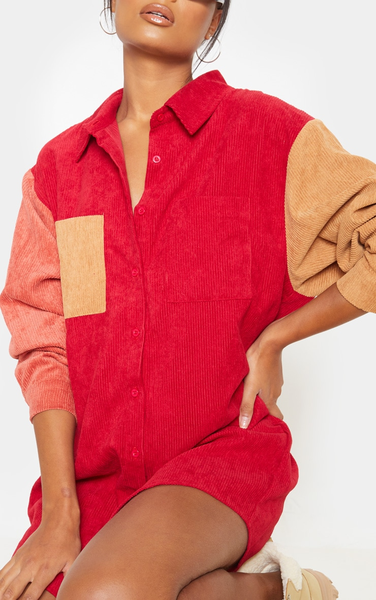 Red Colour Block Cord Pocket Front Oversized Shirt Dress 5