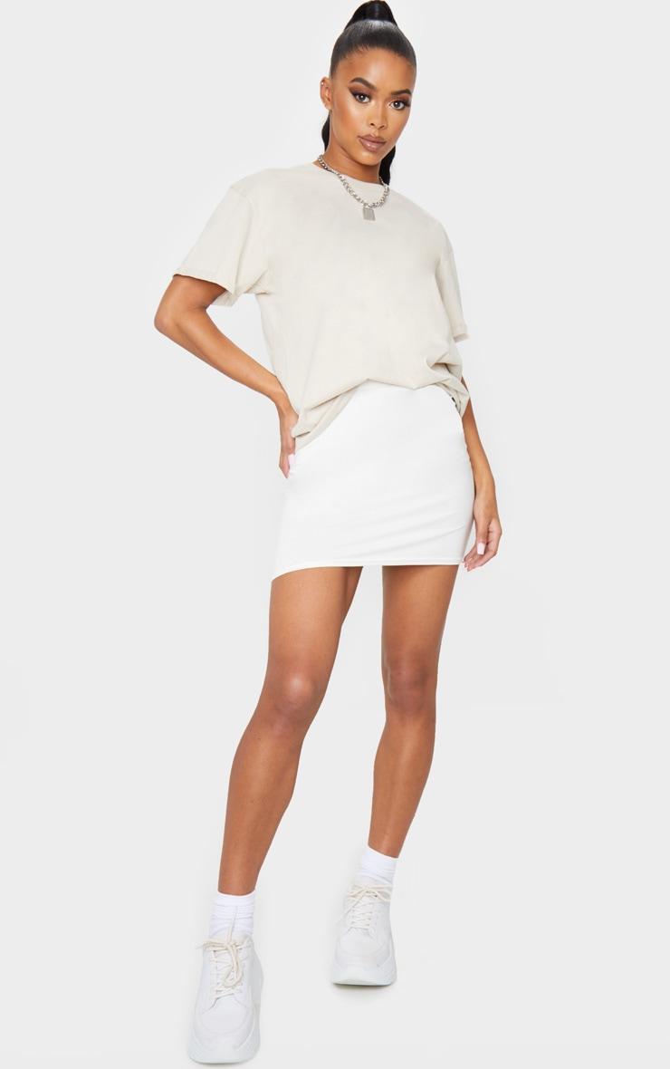 Cream Basic Jersey Mini Skirt 1