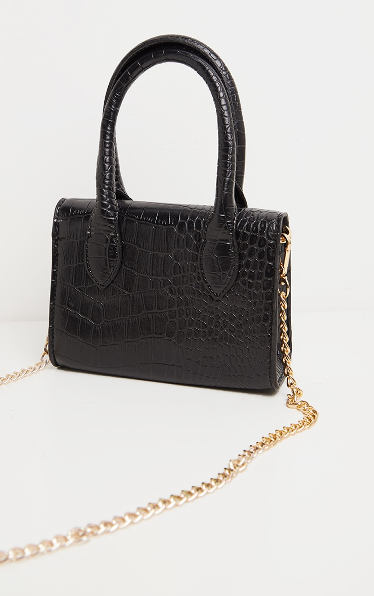 Black Croc PU Mini Cross Body Bag 3