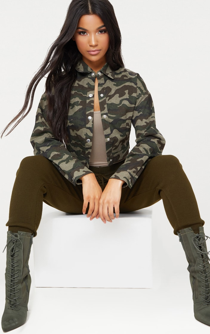 Green Cropped Camo Trucker Jacket 1