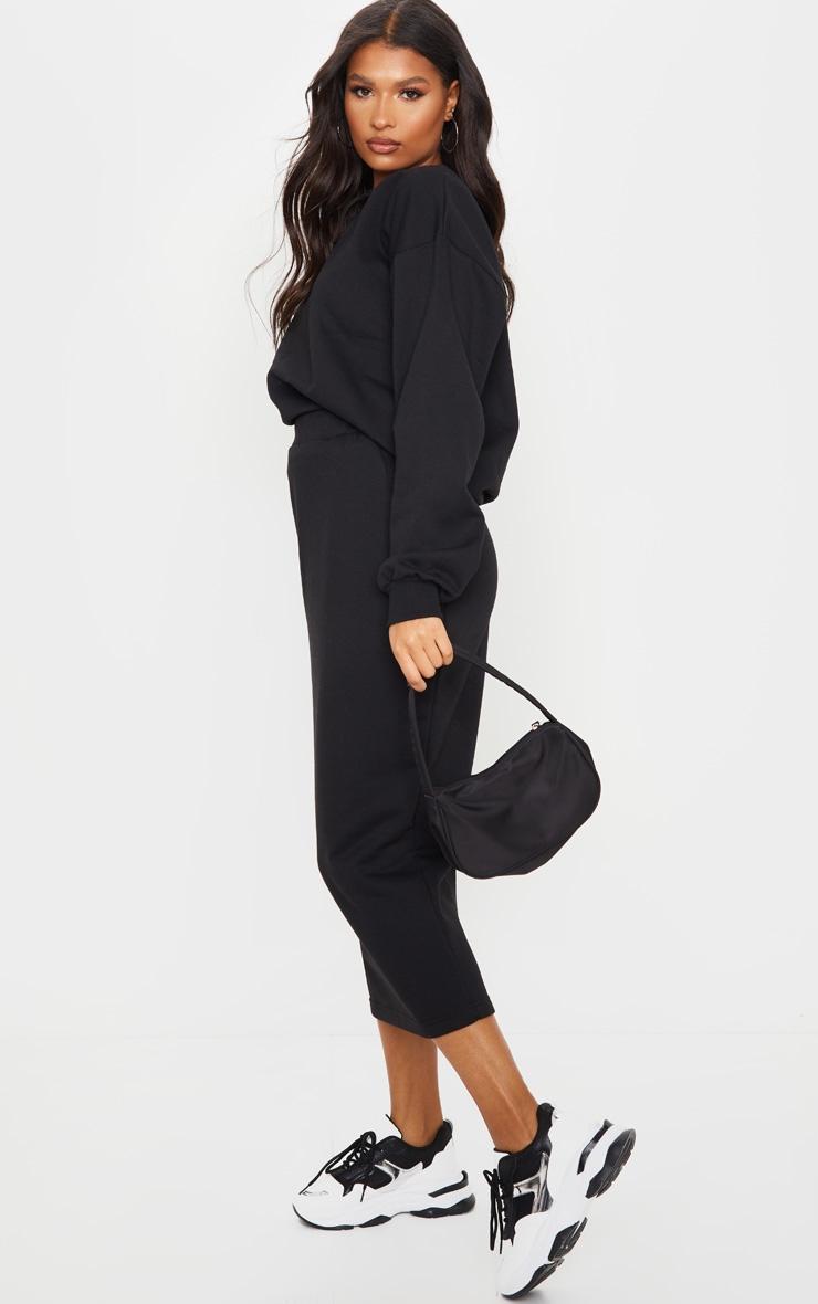 Black Crew Neck Sweater & Midi Skirt Set 3