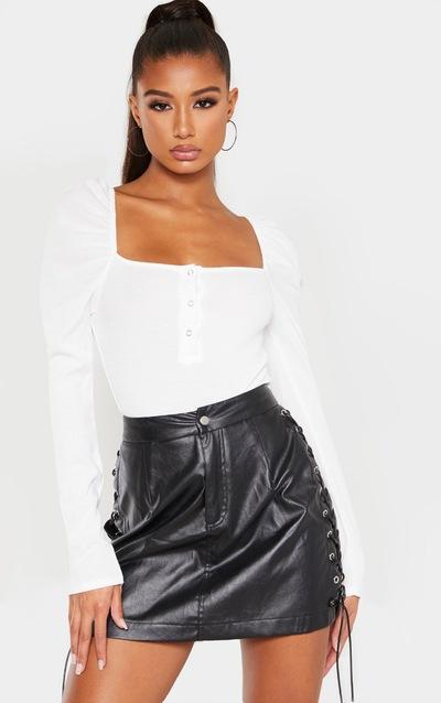 Cream Rib Puff Long Sleeve Bodysuit