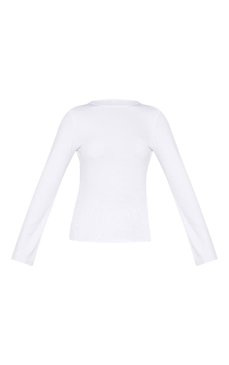 White Soft Rib Long Sleeve Crew Neck Top 3