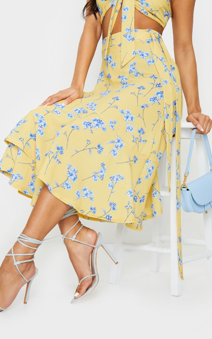 Yellow Floral Printed Frill Hem Wrap Midi Skirt 4