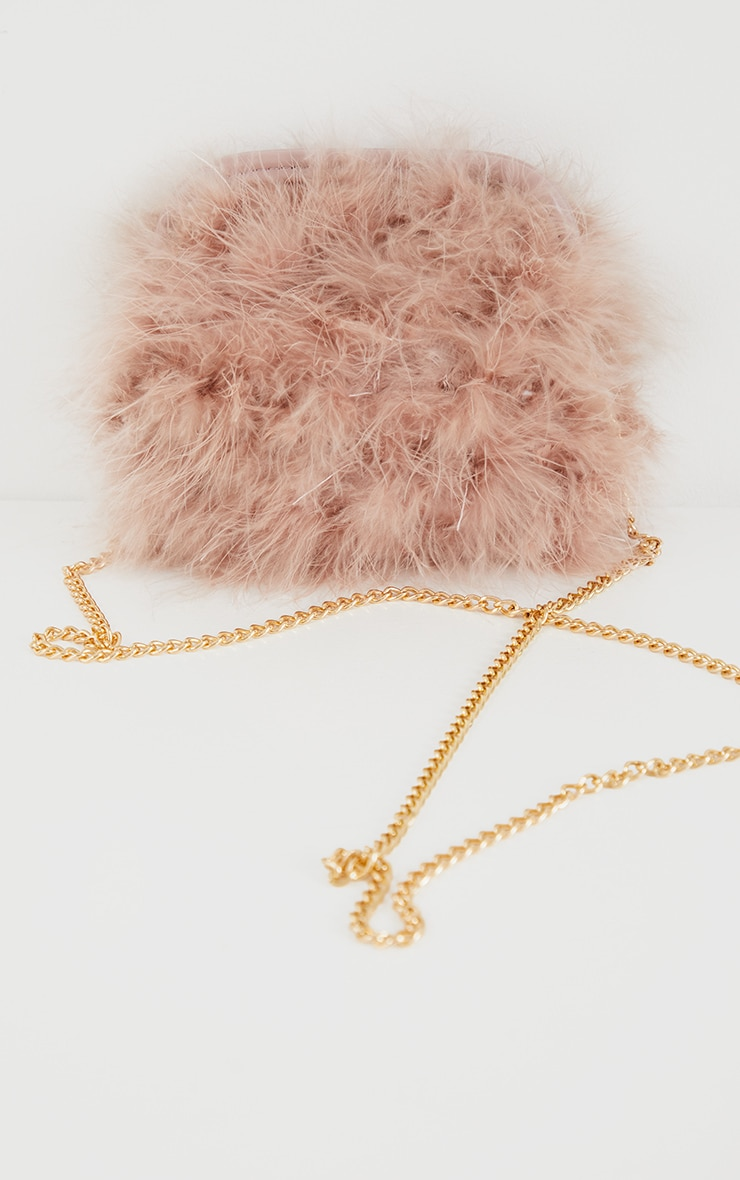 Nude Marabou Feather Clutch Bag 2
