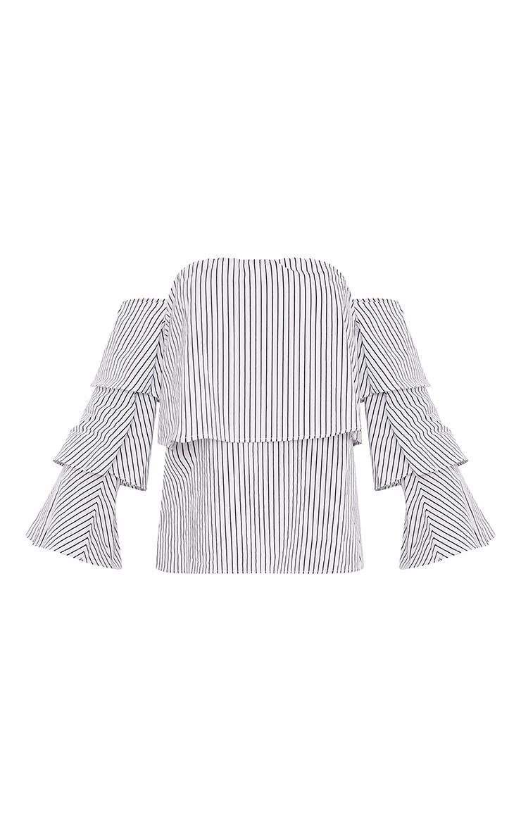 Caitie White Stripe Ruffle Sleeve Bardot Shirt 3