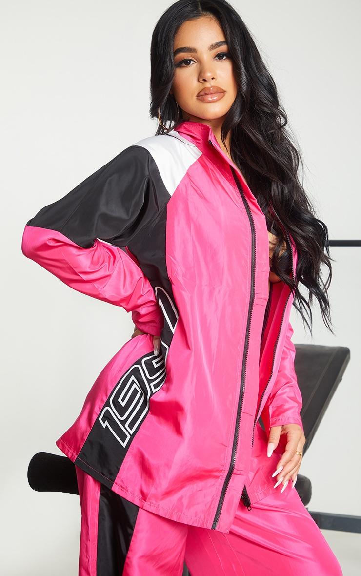 Petite Pink Nylon 1997 Oversized Sports Jacket 1