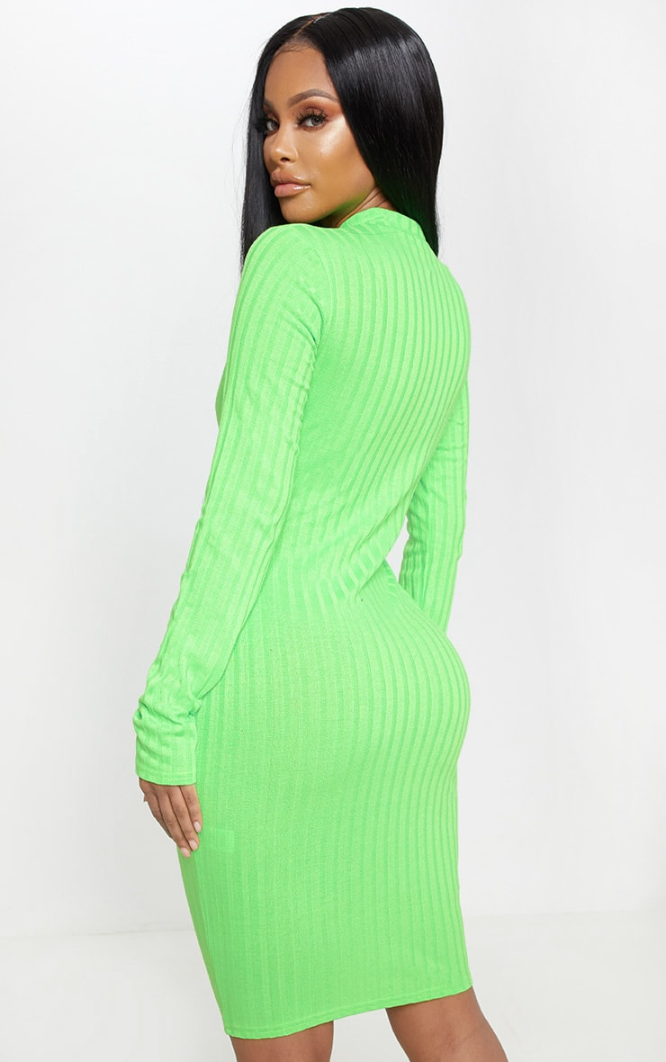 Shape Neon Lime Ribbed Zip Front Bodycon Dress 2