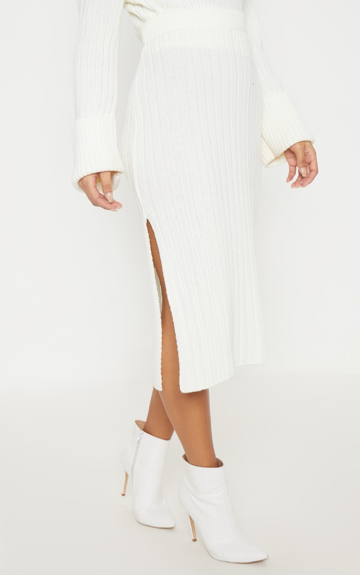 Cream Ribbed Knitted Midi Skirt 2