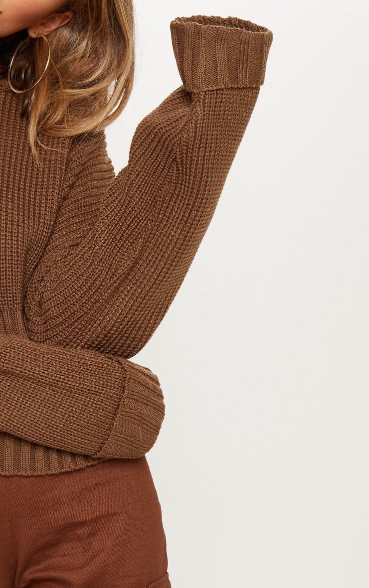 0802f01b65dcb Brown Ribbed Hem Knitted Sweater image 5