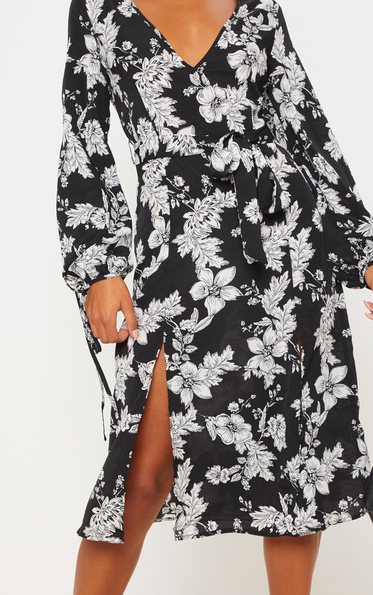 Black Tie Waist Floral Print Split Midi Dress 5