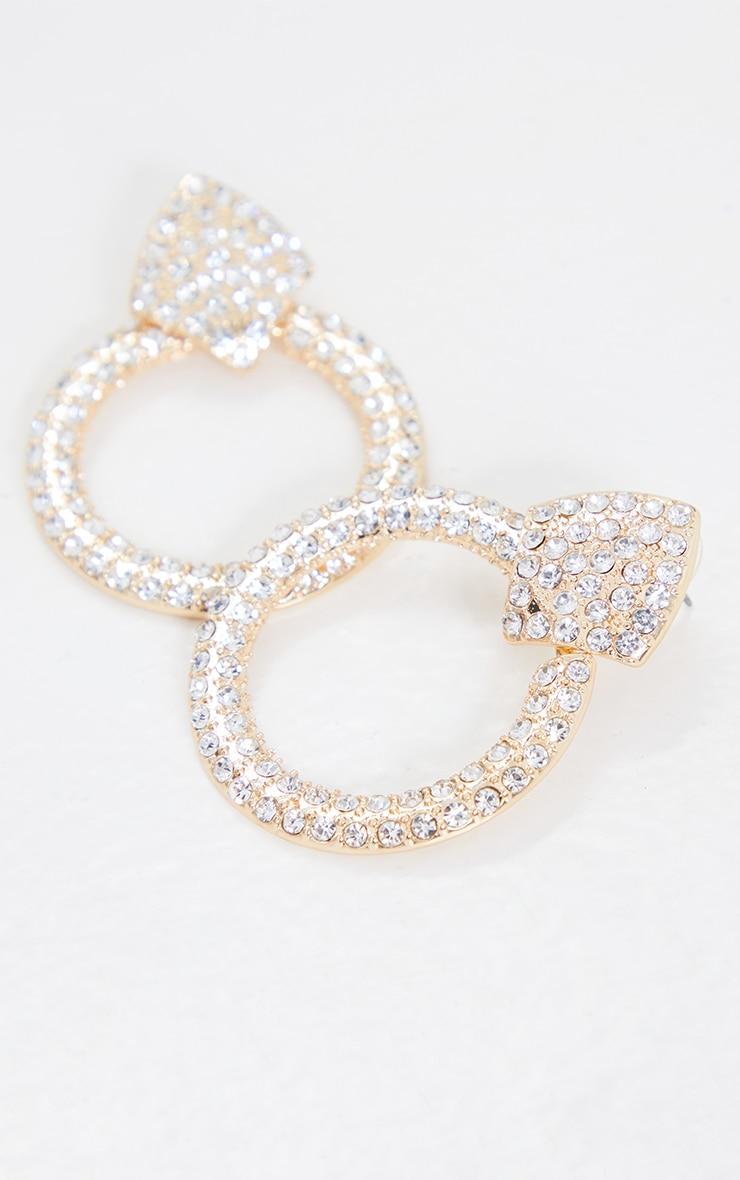 Gold Oversized Silver Diamante Door Knocker Earrings 2