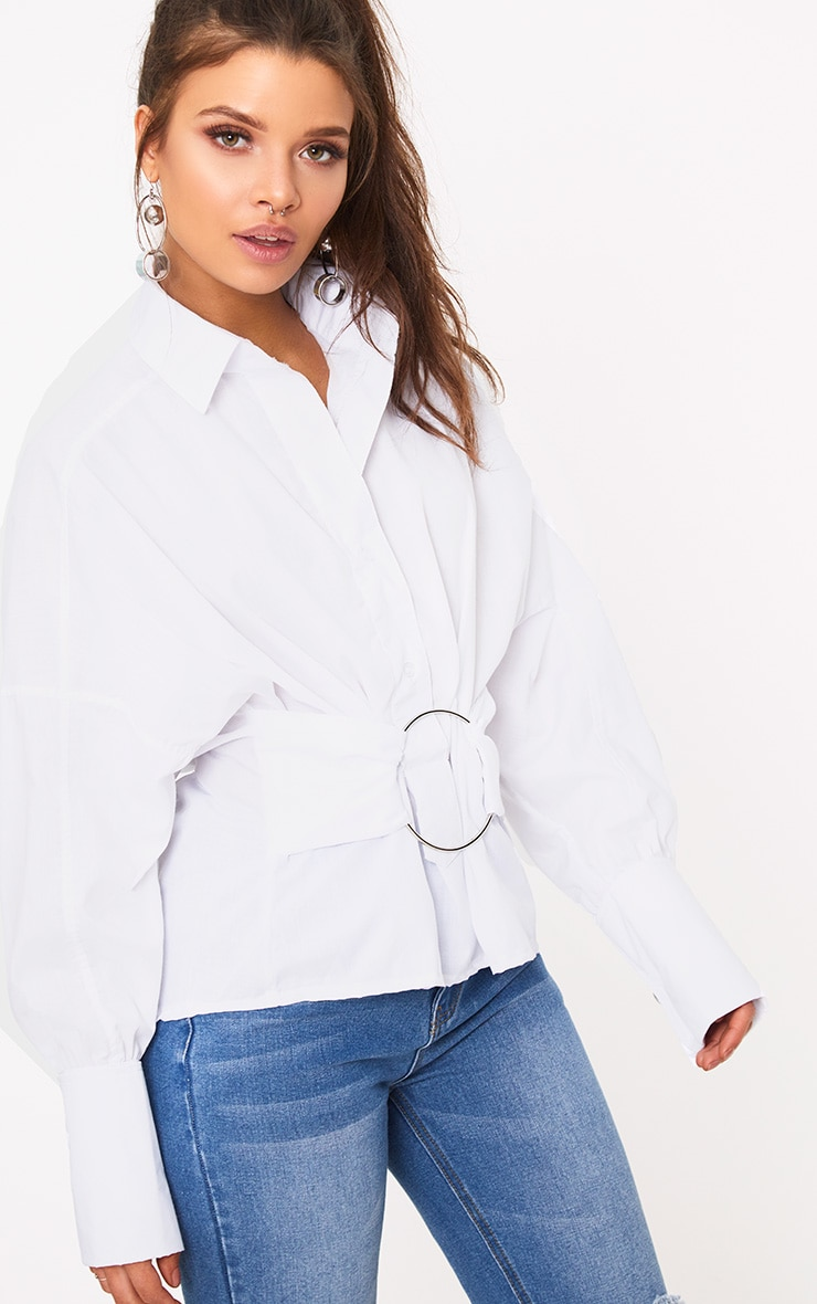White O Clasp Belt Oversized Shirt 1
