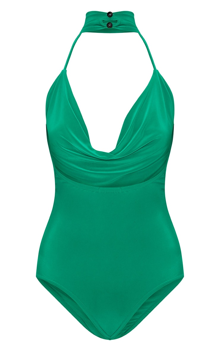 Green Slinky Cowl Neck Thong Bodysuit 4
