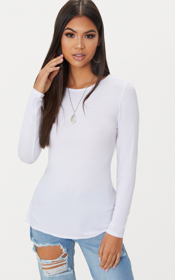 White Long Sleeve Open Tie Back Top  2