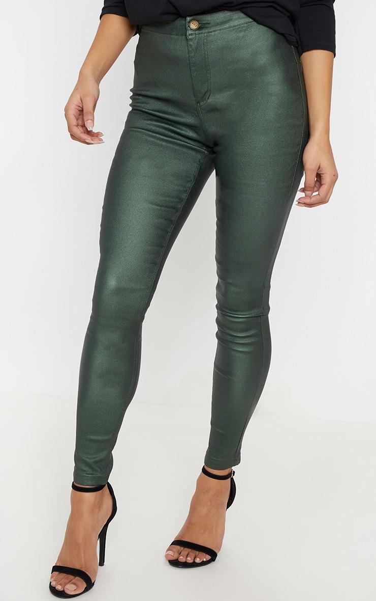 Khaki Coated Denim Skinny Jeans  2