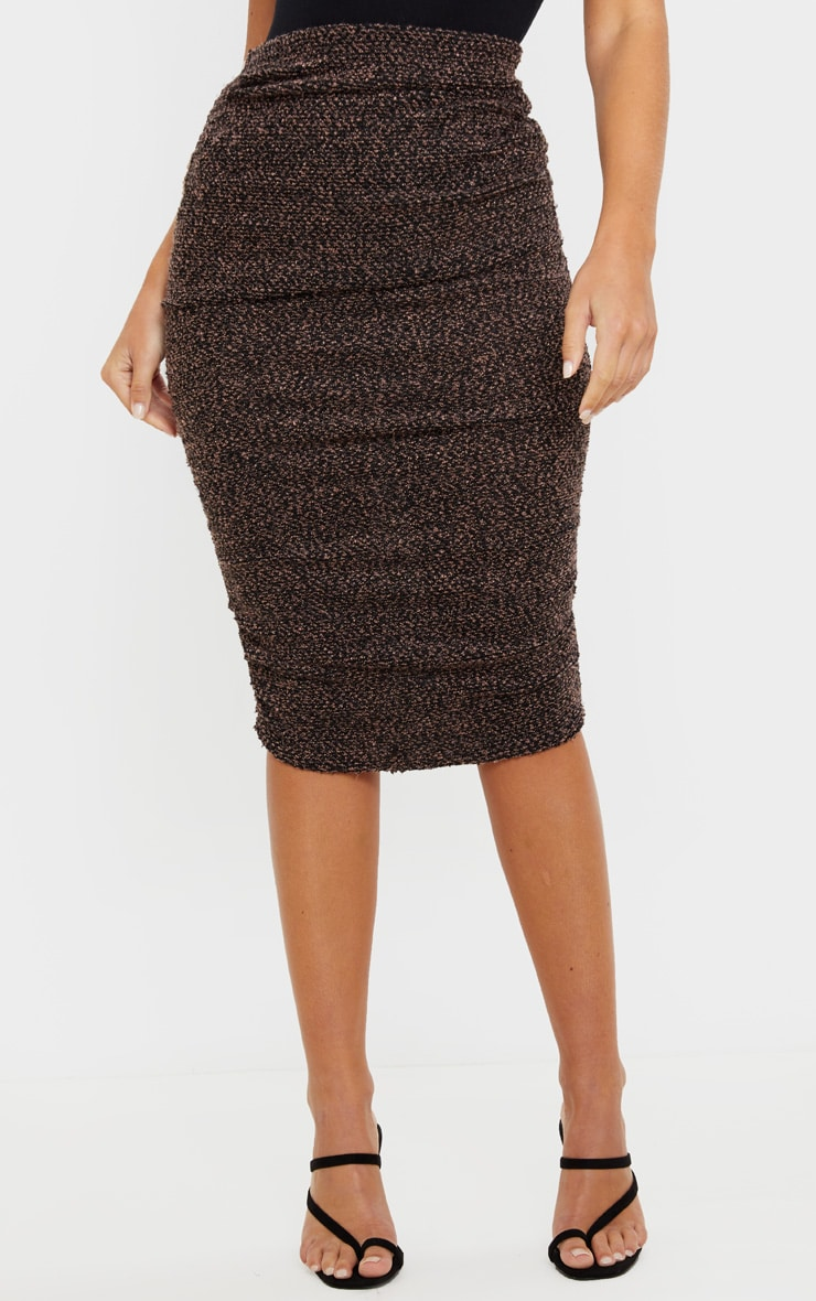 Camel Boucle Ruched Midi Skirt  2