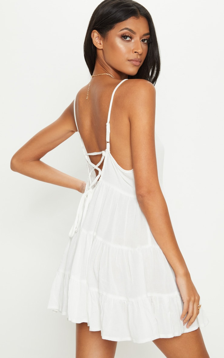 White Cheesecloth Strappy Tiered Cami Dress 2