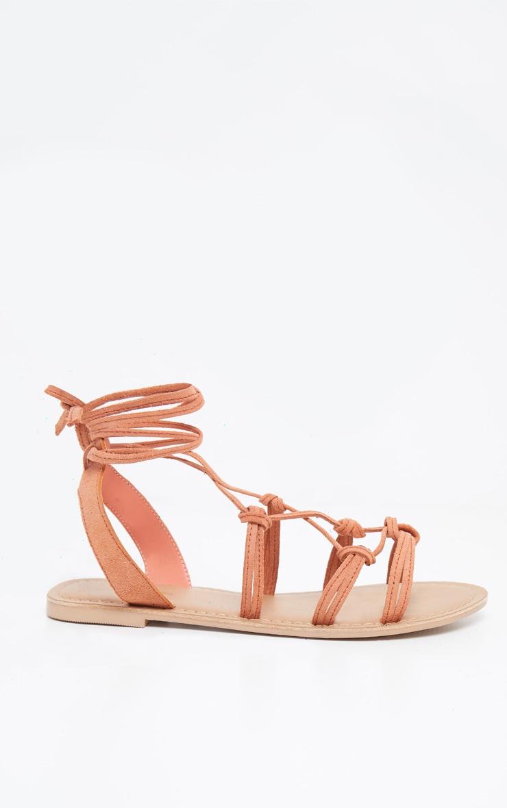 Orange Knot Strappy Leather Sandal 3