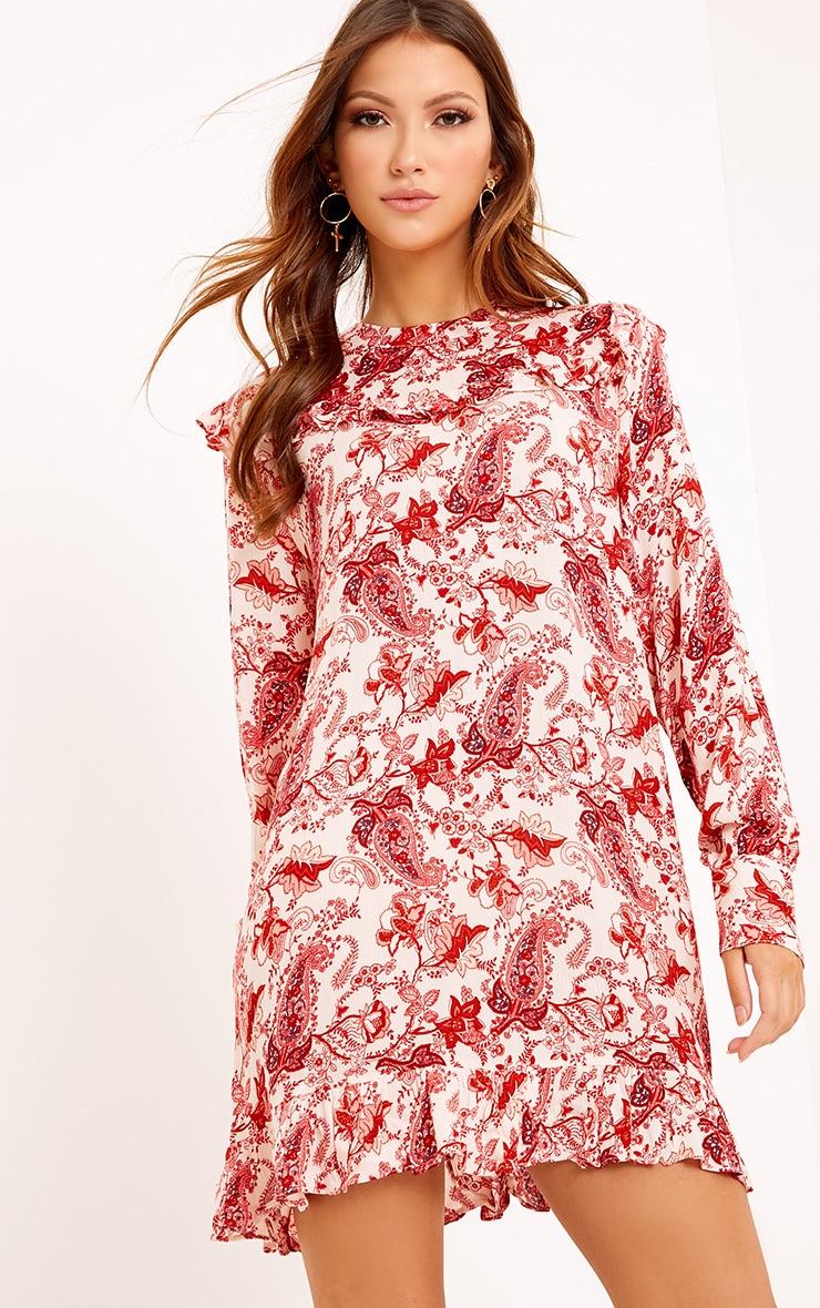 Carolinar Printed Cheese Cloth Frill Shift Dress Red 4