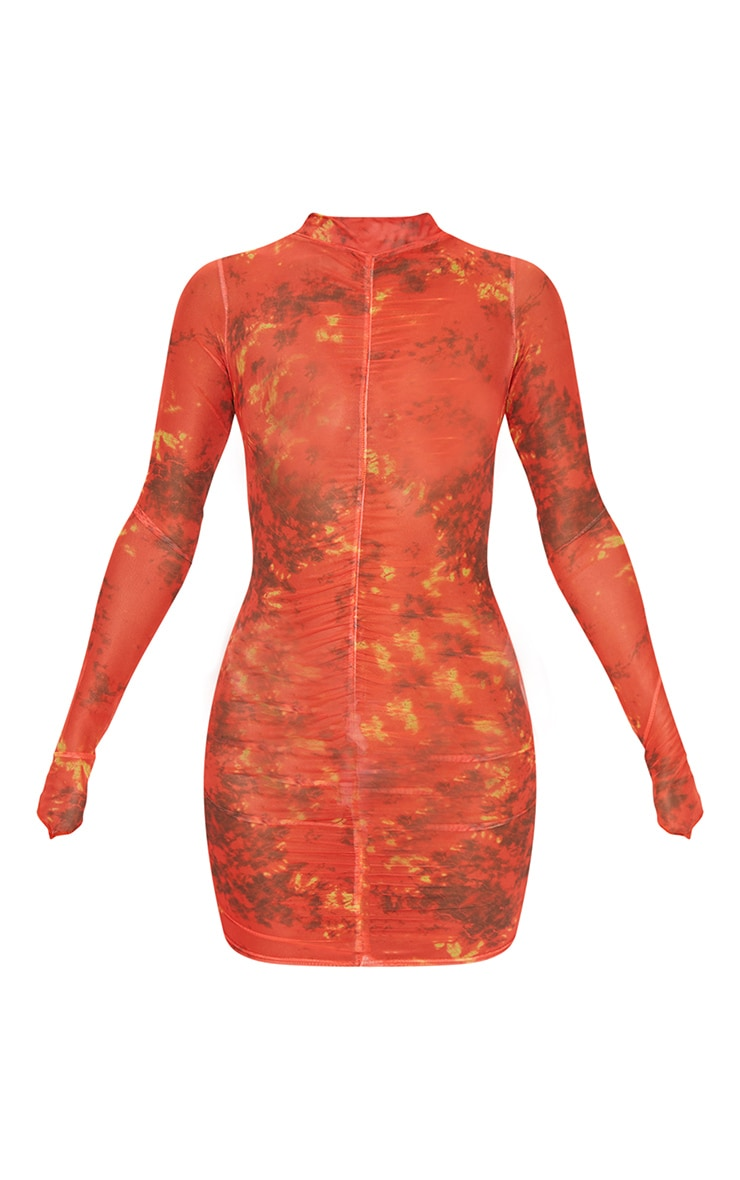 Red Tie Dye Ruched Centre High Neck Long Sleeve Bodycon Dress 5