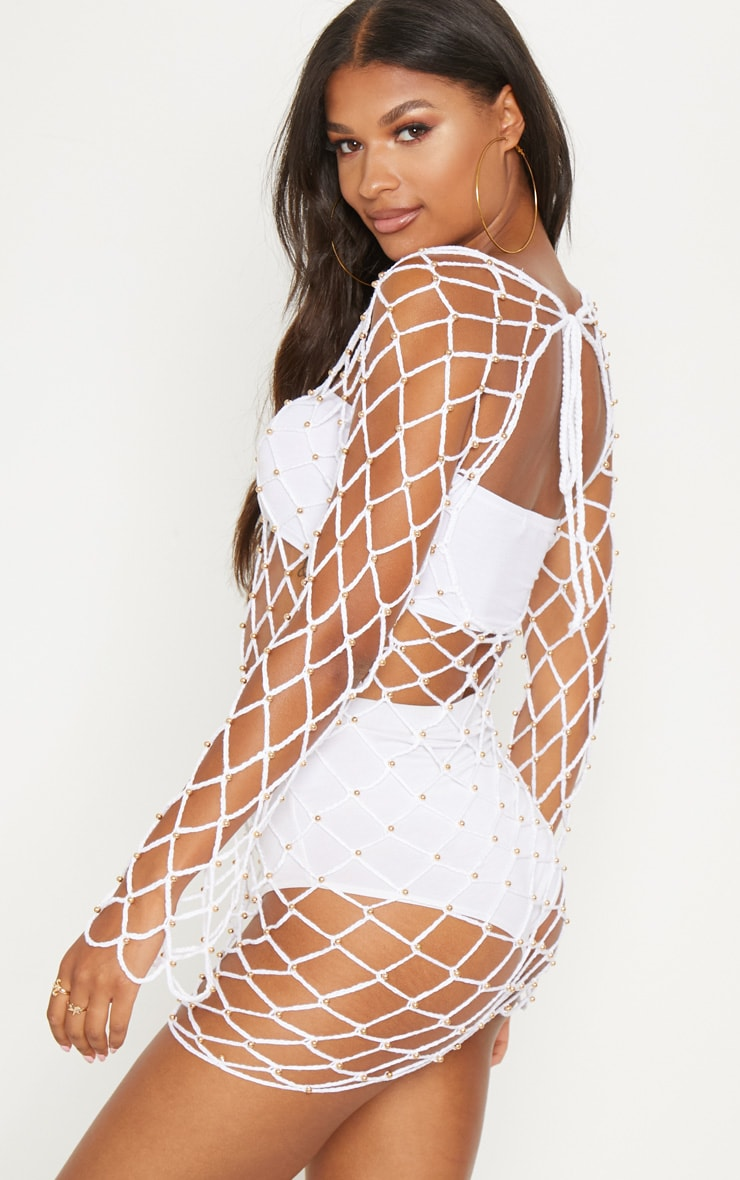 White Crochet Beaded Long Sleeve Dress 2